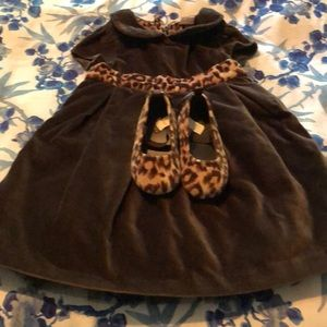 Baby Gap brown velvet / leopard print dress